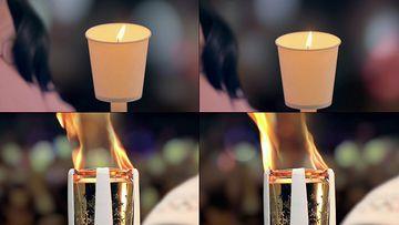 创意视频蜡烛纸杯变成火炬
