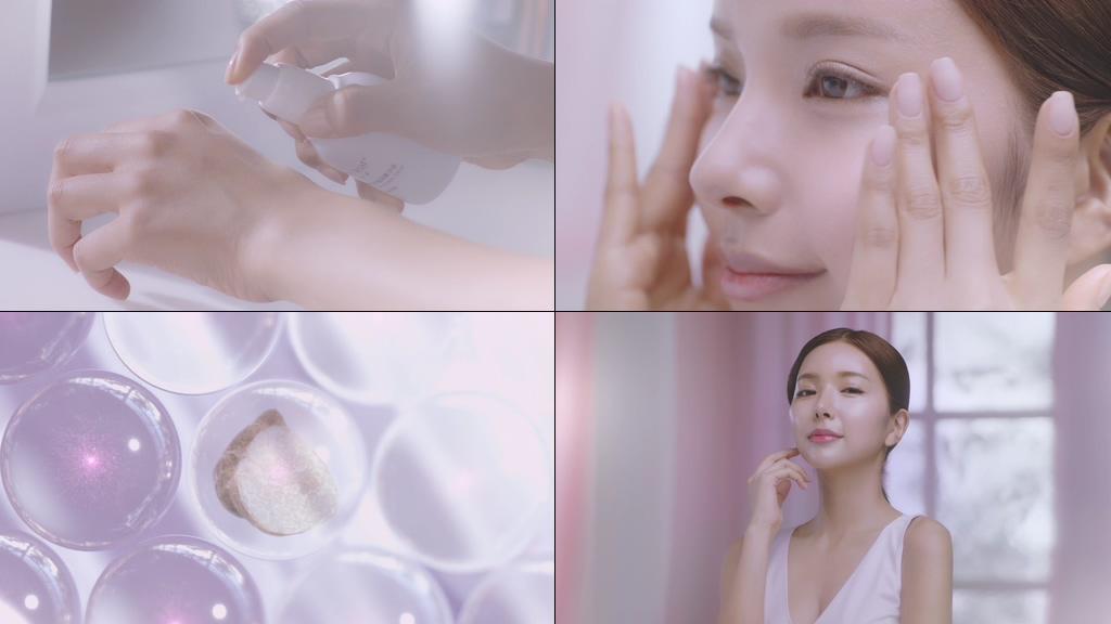粉色小清新美女护肤保养视频素材
