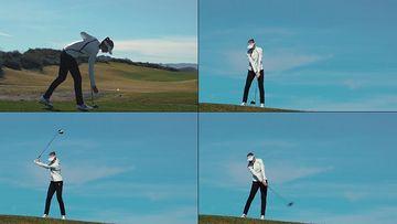 山顶上打高尔夫球的女人视频素材