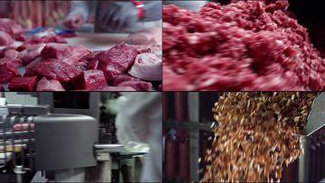 新鲜的猪肉制作火腿肠视频素材