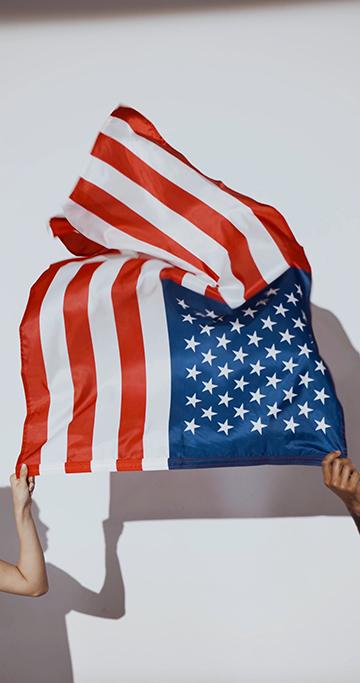 两个人拿着美国国旗竖屏视频