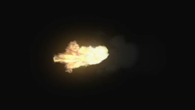机关枪枪口侧面火光