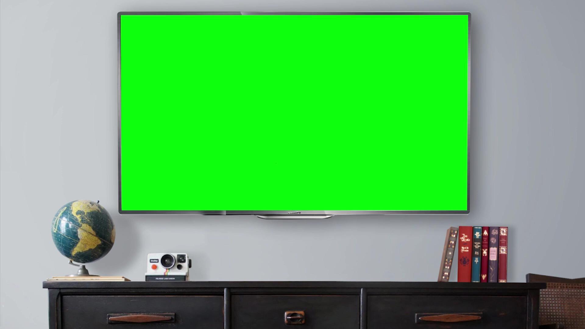 室内的电视绿幕