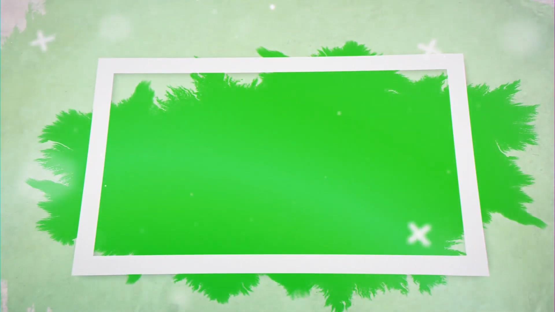 相框里的水墨晕开绿幕视频