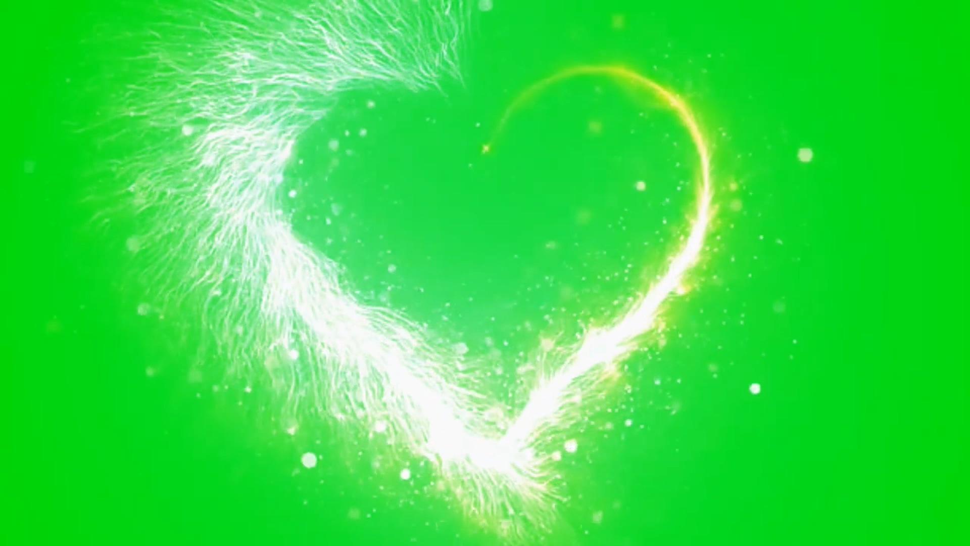 粒子心形绿幕素材