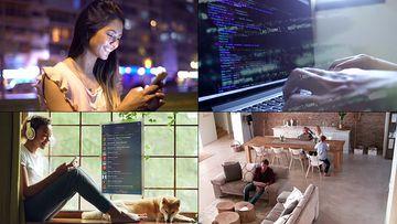 移动互联网玩手机的各种人视频素材