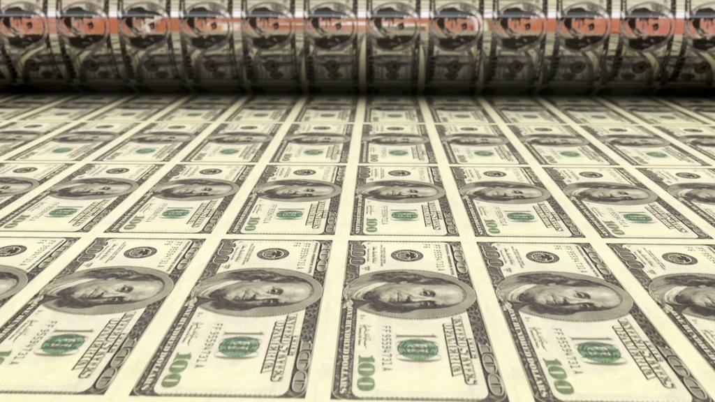 4K印钞机印美金视频素材