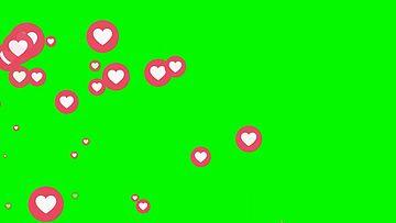 从左下角弹出的小爱心绿幕视频素材