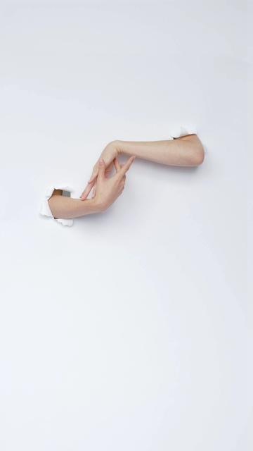 创意白屏幕里的两只手在互动
