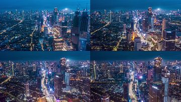 夜景灯火通明的大城市街道航拍