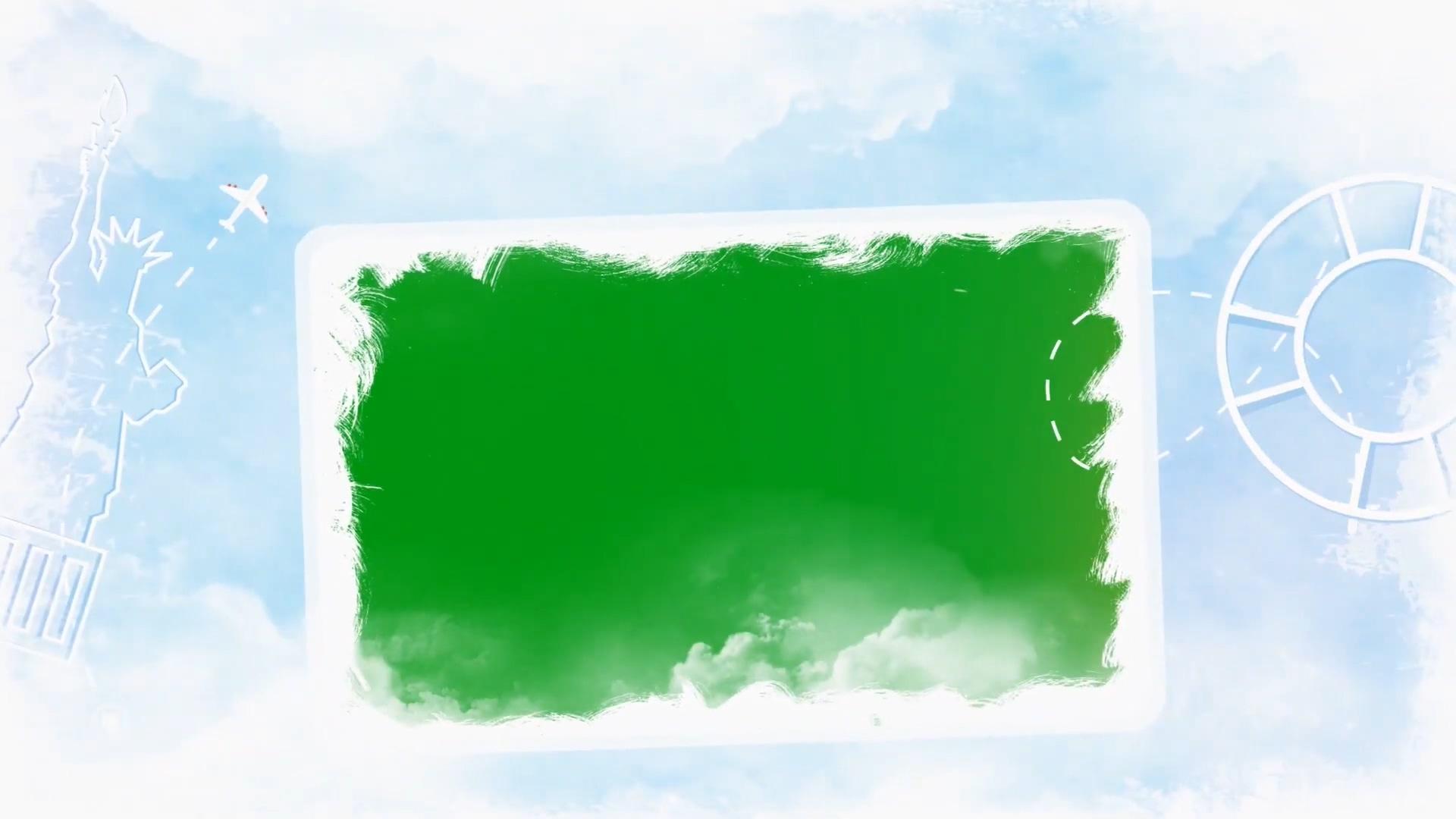 旅游旅行云层之上绿幕模板