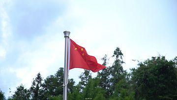中国农村希望小学五星红旗视频素材