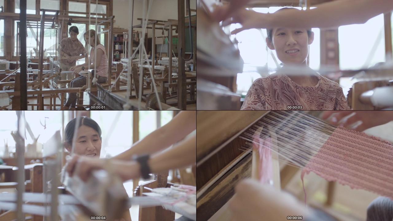 传统手艺学习纺织的国外朋友