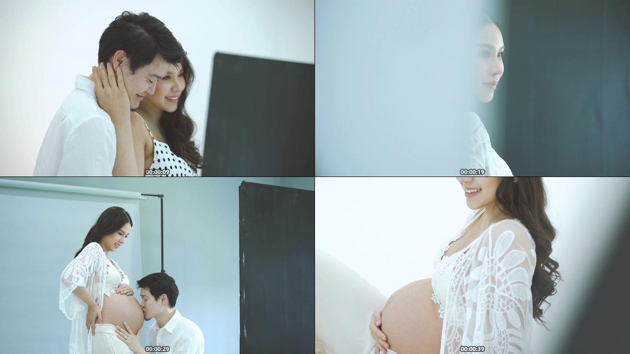 怀孕妈妈拍孕妇照视频素材