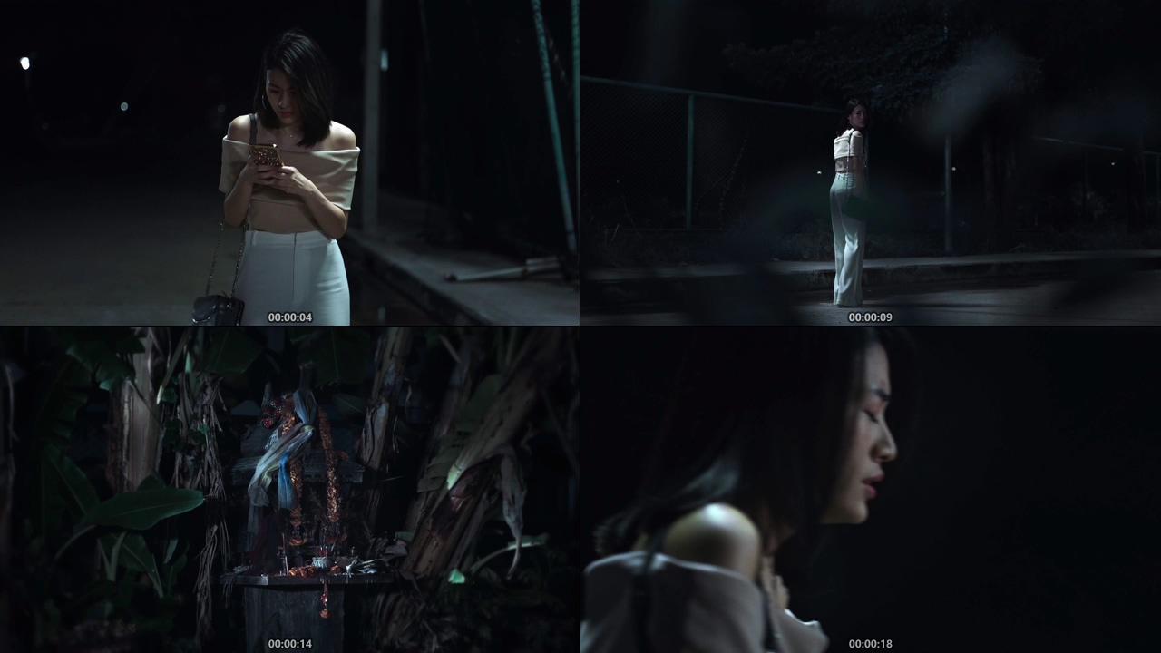 女孩子走夜路害怕恐惧视频素材