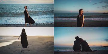 4K在海边奔跑的美女背影视频素材
