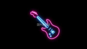 吉他霓虹灯闪烁vfx视频素材