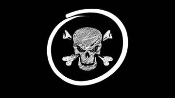 圆圈里的骷髅头手绘视频素材