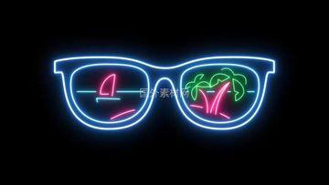 太阳镜霓虹灯vfx视频素材