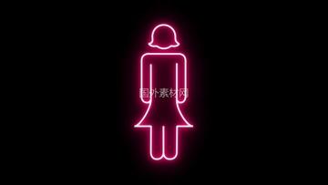 女性标志霓虹灯闪烁vfx视频素材
