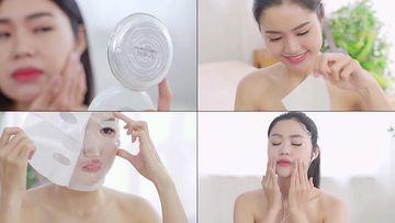 脸上有斑的女人烦恼敷面膜视频素材