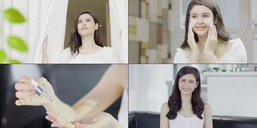 睡醒的中年妇女保养皮肤视频素材
