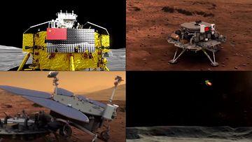 中国卫星探测器降落在月球火星表面视频素材