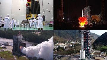 中国探月工程嫦娥火箭发射视频素材