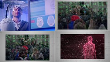 高科技脑机接口的未来概念视频素材