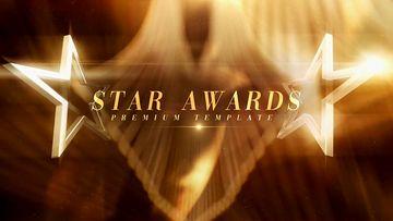 金色五角星颁奖典礼包装AE模板