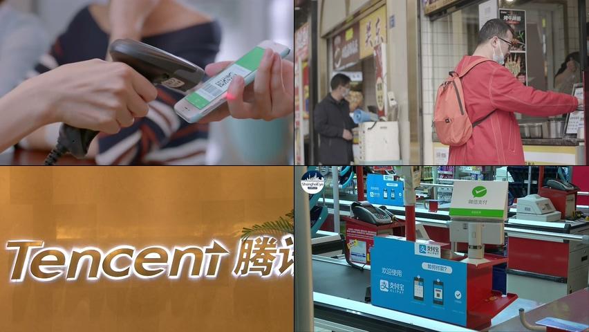 购物使用支付宝和微信扫码支付视频素材