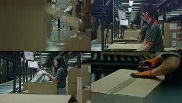 正在打包发货的工作人员视频素材