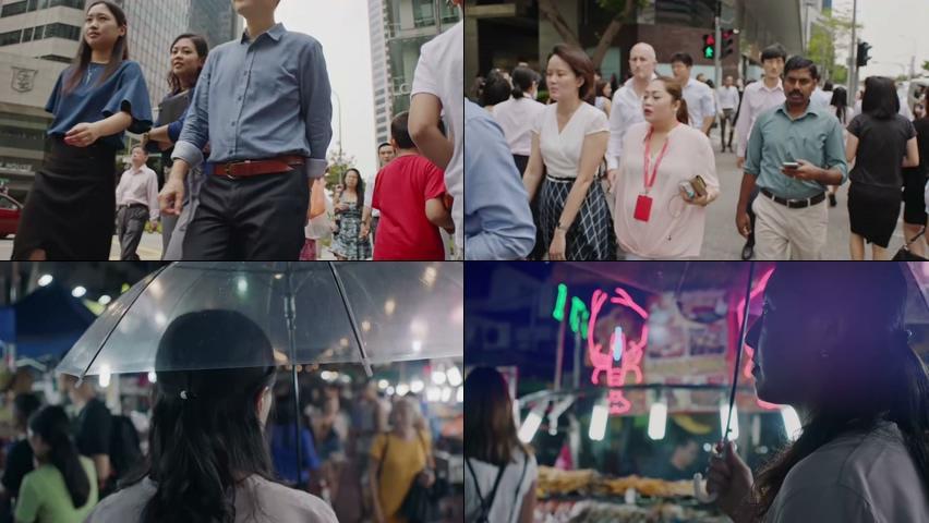 街头的行人视频素材