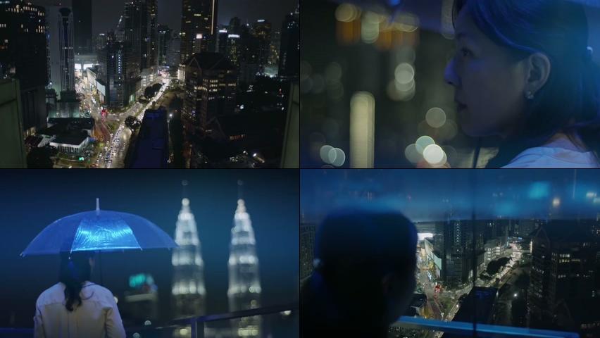 下雨天新加坡城市夜景