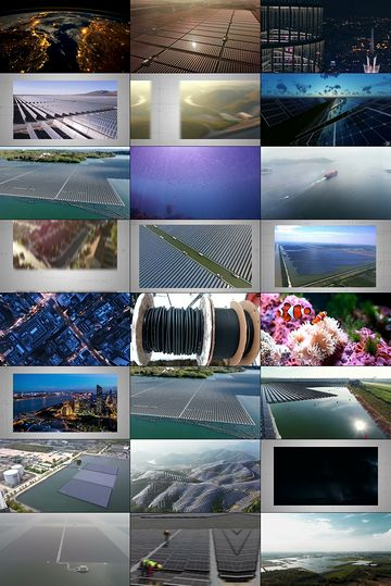 世界上最大的浮动光伏太阳能农场视频素材完整版