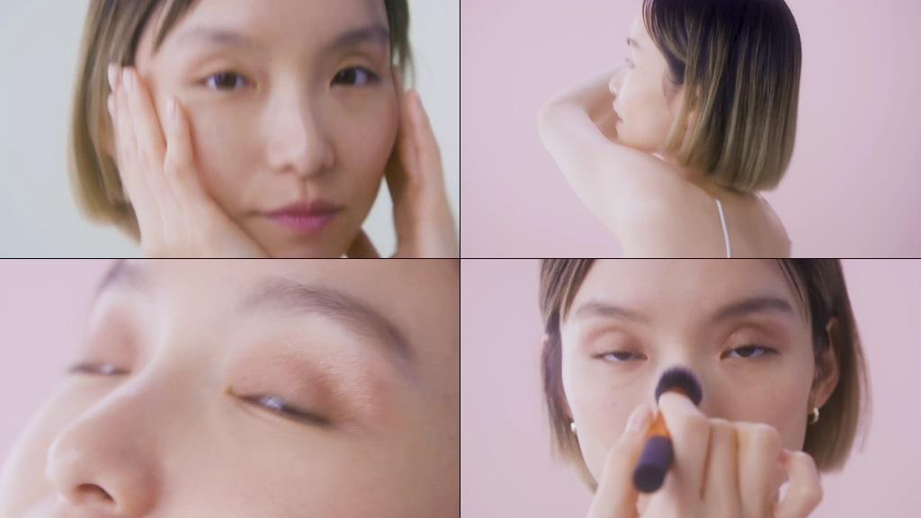 化妆的短发美女视频素材
