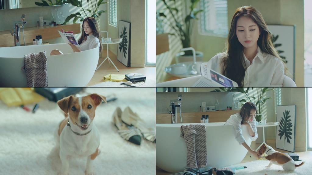 可爱的狗狗和浴缸里的美女视频素材