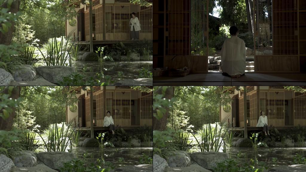 隐居生活的女人茶舍农舍视频素材