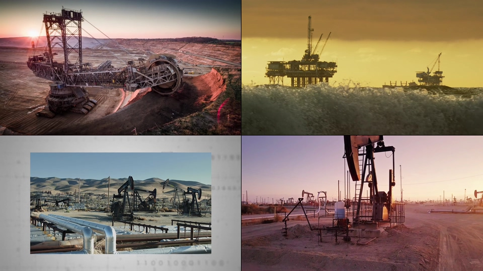 地球资源挖掘海上钻井平台视频素材