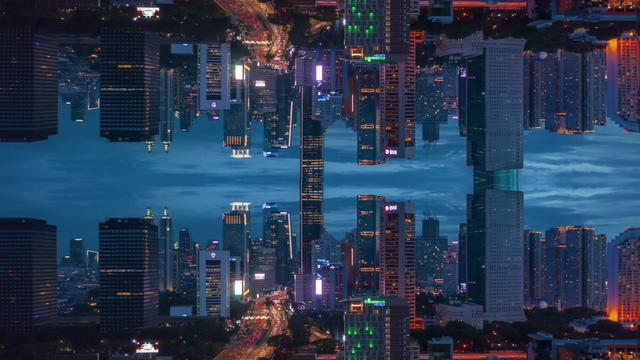 4K盗梦空间镜像城市视频素材