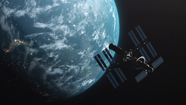 4K卫星飞离地球轨道视频素材