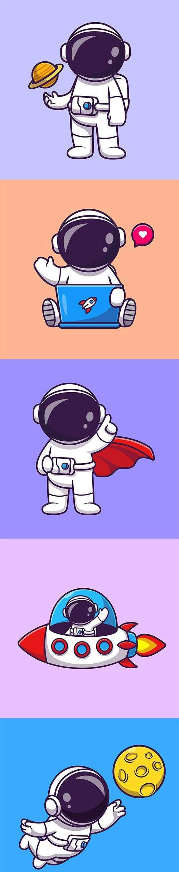 逗人喜爱的宇航员捉住月亮动画片矢量