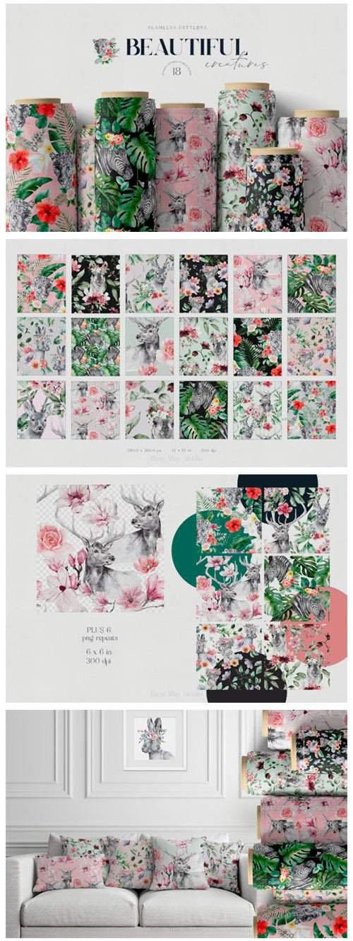 动物和鲜花无缝模式纹理素材