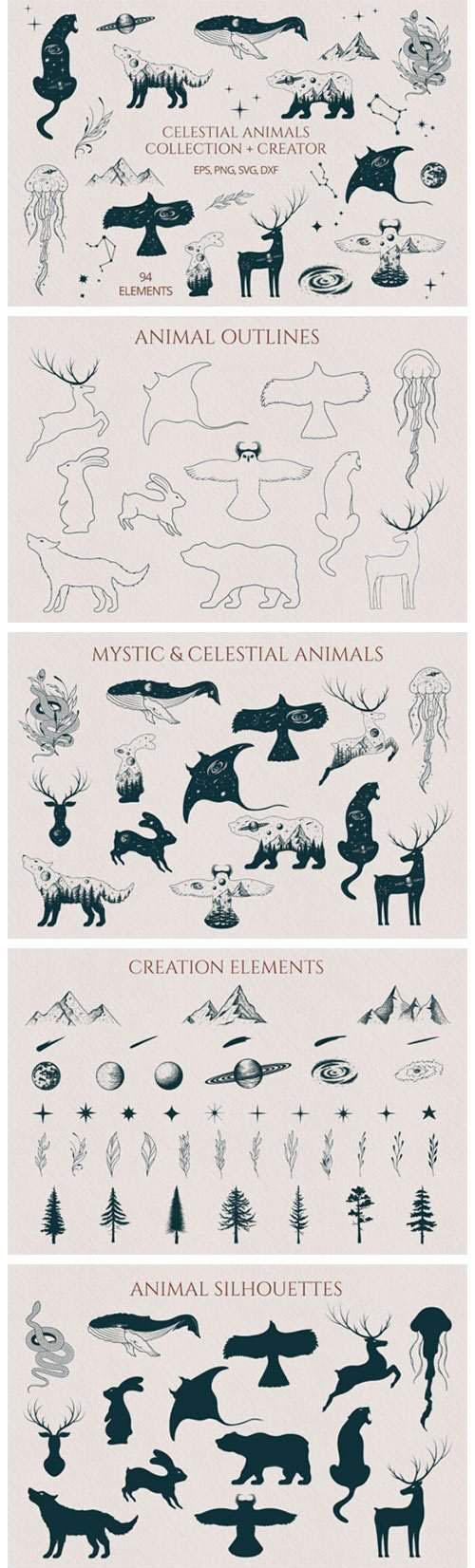 手绘天体动物收藏矢量素材