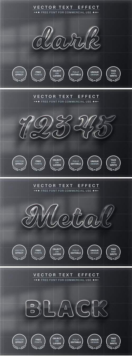 深色金属可编辑文本效果字体样式矢量素材