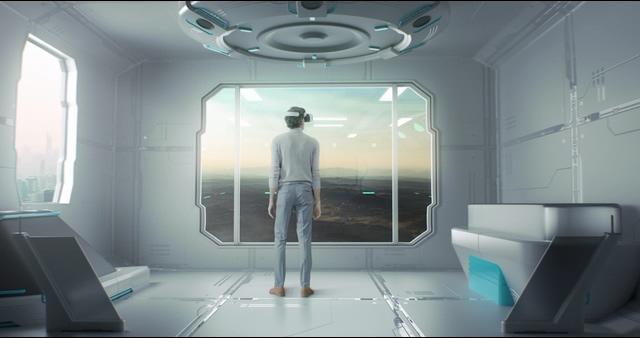 4K虚拟空间戴AR眼镜的男人视频素材