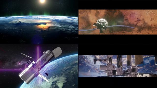 震撼大气的宣传片开场卫星视频素材