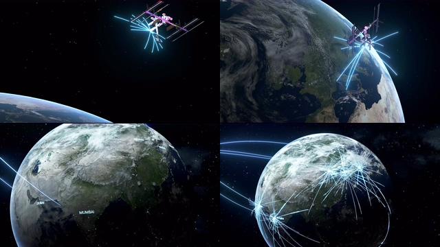 4K卫星向地球发射信息企业业务视频素材
