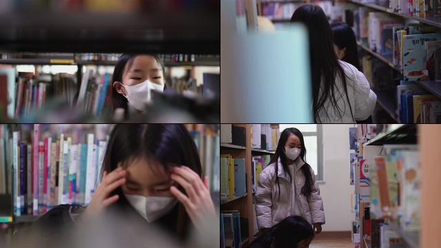 -韩国初中图书室借书视频素材
