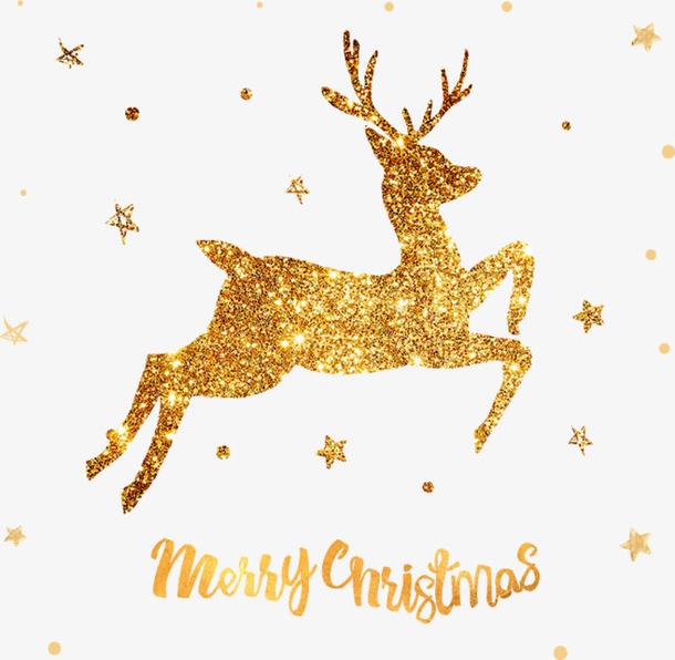 透明飞跃的圣诞鹿PNG图片